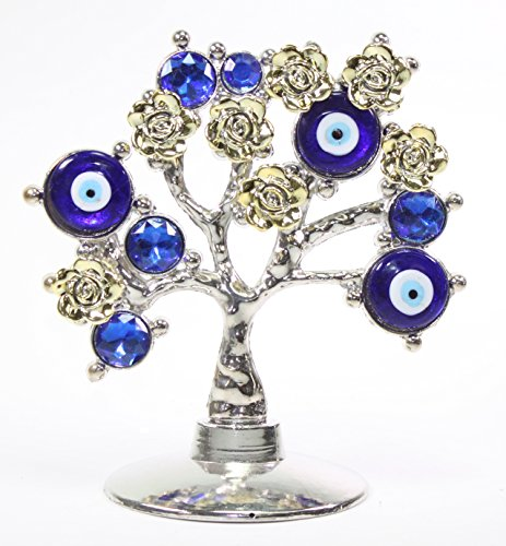 Turkish Evil Eye (Turkish Blue Evil Eye Gold Flowers Money Fortune Tree Protection Good Luck Gift)