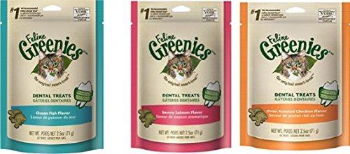 Feline Greenies Cat Dental Treat Variety Pack of (18) 2.5oz Bags - 45oz Total