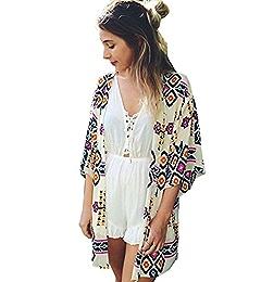 b215e77f6a Womens Swimwear Beachwear Bikini Beach Wear Cover up Kaftan Summer Shirt  Dress (one size, A) at Amazon Women's Clothing store:
