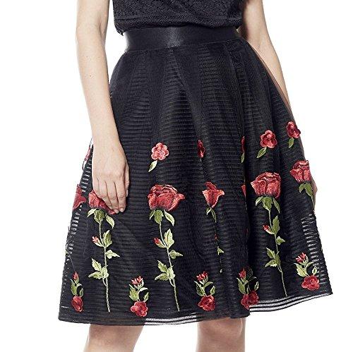 Mesh Full Skirt (Gracia Rose Embroidery Full Mesh Skirt (Small, Black))
