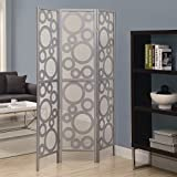 MD Group Room Divider 3 Panel Silver Bubble Design Woven Fabric Double-Sided Folding Screen