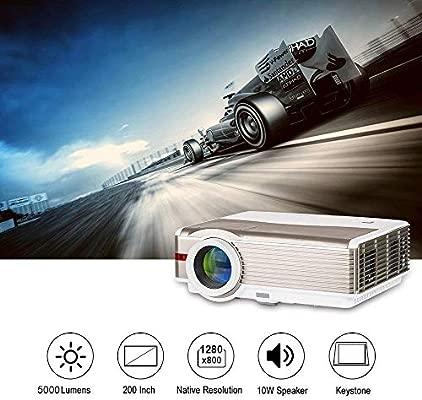 EUG Proyector de video Android LED HD de 5000 lúmenes con soporte de alta definición 1080p inalámbrico para cine en casa Airplay para teléfono ...