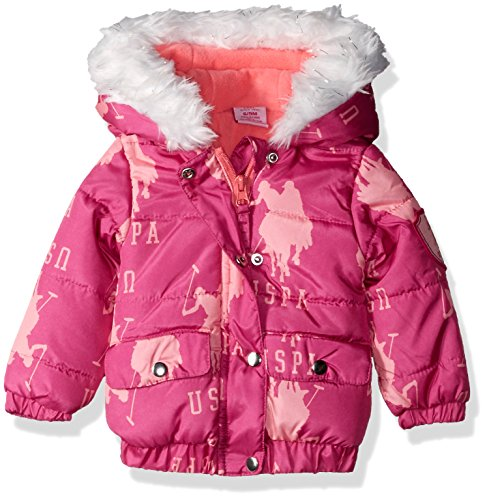 U.S. Polo Assn. Baby Girls' Pearlized Cire Hooded Jacket, Pink Moon, 18 Months