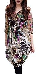 AM CLOTHES Womens Fashion Loose V Neck Half Sleeve Colorful Chiffon Dress