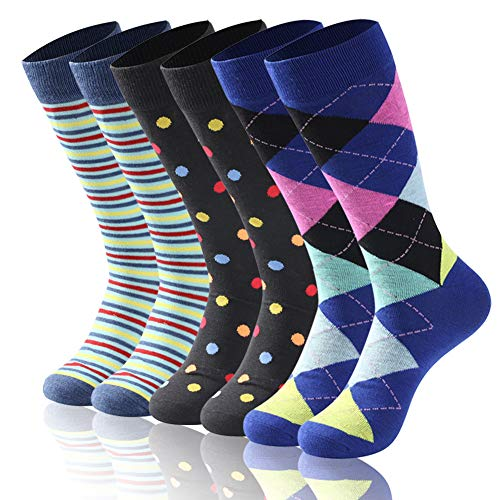 Diwollsam Socks Mens Cool, Unisex Mid Calf Fashion Colorful Bright Stripe Argyle Novelty Business Cycling Fitness Hiking Daily Wear Dress Socks, 6 Pairs(Fun Style, L)