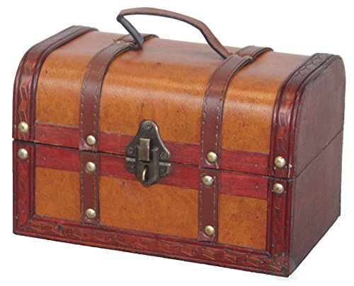 - Vintiquewise(TM) Decorative Wood Leather Treasure Box (Small Trunk Only)