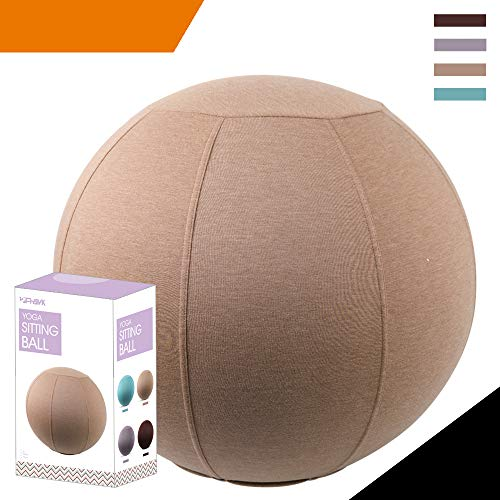 Sport Shiny Classic Balance Ball Chair,Exercise Stability Yoga Ball with Machine Washable Slipcover,Ergonomic Sitting Ball Chair for Multiple Appliances,75cm Size,Apricot,Quick Pump&Instruction