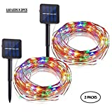 LEVIZONS Solar Outdoor String Lights |110 led x 2PC | Waterproof Decorative Lights | Perfect for Your Patio, Garden, Yard, Parties,Weddings & Holidays | Warm White,Multicolored (Multi Color)
