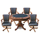 Kingston 3-in-1 Poker and Bumper Pool Multi-Game Table with Four Arm Chairs - Honey Oak Finish