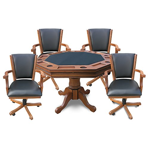 Hathaway BG2351 Kingston 3-in-1 Poker Table with 4 Chairs, Dark Oak Finish
