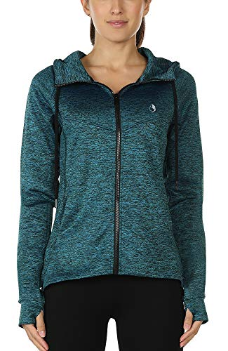 icyzone Workout Track Jackets for Women - Athletic Exercise Running Zip-Up Hoodie with Thumb Holes (L, Royal Blue)