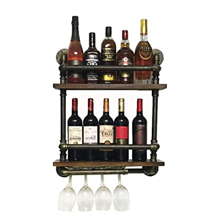 2 Tier Wall Mounted Metal Iron Wine Racks Hanging Wine Bottle Holder