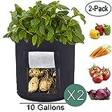 Potato Planter Bag, 2-Pack Potato Grow Bag, 8 -Gallon Velcro Window Vegetable Grow Bag, Double Layer Premium Breathable Nonwoven Cloth with Strap Handles, Aeration Fabric Pots (Black)
