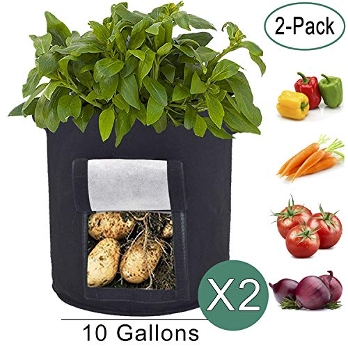 Saileve Grow Bags, 2-Pack 10 Gallon Potato Planter Bag, Double Layer Nonwoven Cloth Fabric Pots with Handles - Velcro Window Vegetable Planting Bags