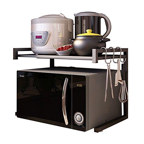 LXLA- Upgrade 2-Tier Kitchen Shelf With Hooks Scalable Carbon Steel Microwave Oven Rack Floor-standing Storage Holder 65×36×42cm (Color : Black)