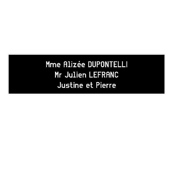 Placa Buzón Edelen (99 x 24 mm) negra letras blancas – 3 líneas