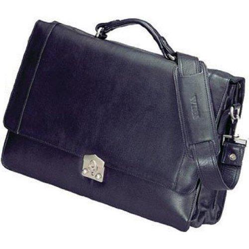Leather Triple Gusset Flap - Winn Harness Cowhide Leather Triple Gusset Brief with Flap-over with key lock - Black