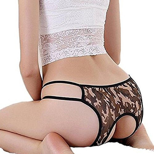 Gotoole Women Leopard Camouflage Crotchless Thongs Briefs G-string Lingerie Underwear (Womens Camouflage)