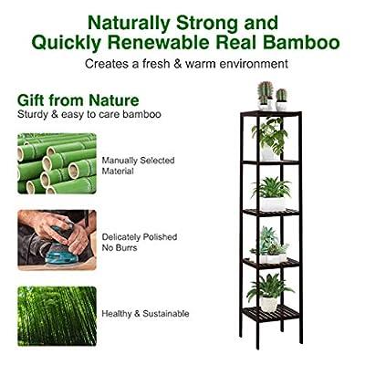 LANGRIA Storage Shelf Unit Stand 100% Bamboo Shelf 5-Tier Free Standing Rack Organization for Kitchen, Bathroom, Living Room 57'' x 13'' x 13'' Dark Brown