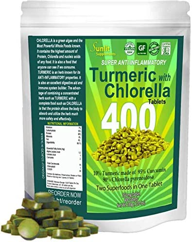 Sunlit Chlorella w Turmeric Tablets. Superfood'supplement combines Organic raw non-GMO Chlorella Pyrensoidosa
