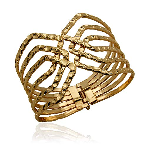 - XS Accessories Hammered Finish Hinged Cuff Fashion Bracelet for Women (Gold)