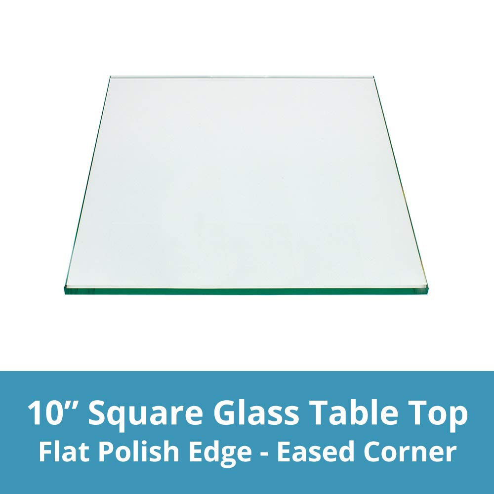 TroySys T10SQ6MMFPTEM-T	1/4'' Thick Square Glass Table Top  | USA Premier Glass Maker | High Strength Tempered Glass with Flat Polish Radius Edge | Perfect Indoor or Outdoor Table, (10'' x 10'')