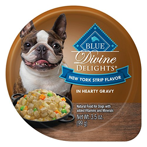 Blue Buffalo Divine Delights Natural Adult Small Breed Wet Dog Food, New York Strip Flavor in Hearty Gravy 3.5-oz (Pack of 12)