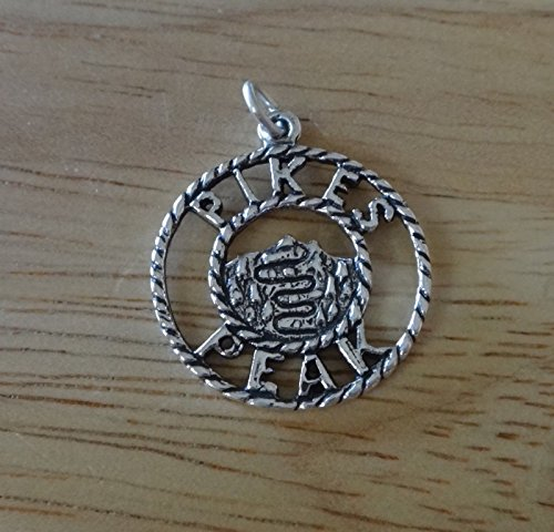 Sterling Silver 21mm Pikes Pikes Peak Disk I made it Alt 14,110 Colorado Charm Jewelry Making Supply, Pendant, Charms, Bracelet, DIY Crafting by Wholesale Charms (Alt Charms)