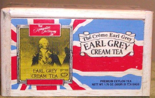 Earl Grey Cream Tea, 25 Tea Bags Sealed in a Wooden Box for Freshness (Cream Tea)