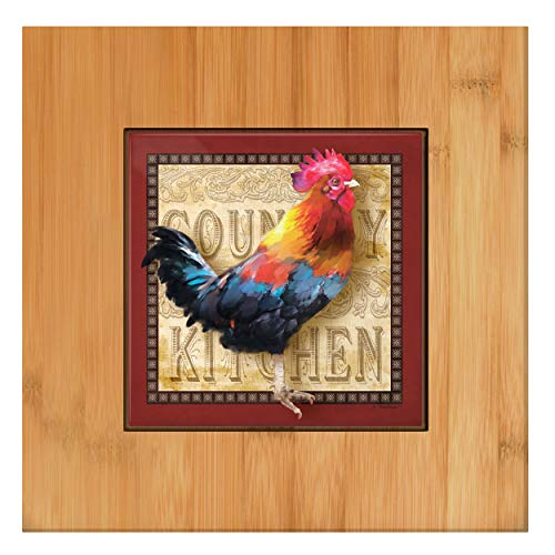 (Rustic Rooster Kitchen Decor Country Kitchen Trivet Rooster Kitchen Tools Tile and Wood Trivet)