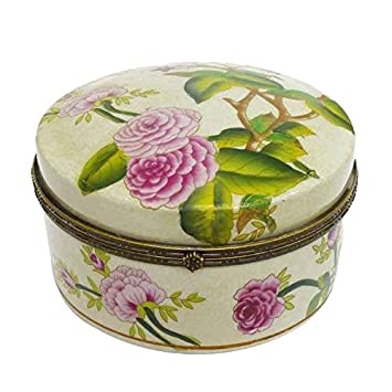 Better & Best Caja de Porcelana y Bronce Redonda, Grande, Decorada con Camelias,