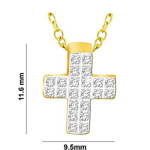 Libertini Pendentif argent 925 plaque or Jaune serti de Diamant en forme de Croix