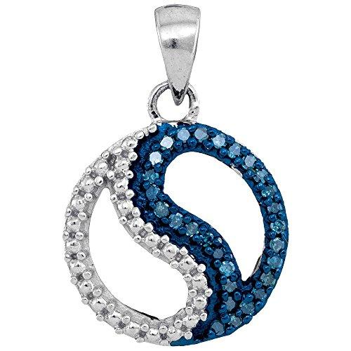 White Gold Ladies Blue Colored Diamond Circle Ying Yang Pendant 1/10 Carat tw (Blue Diamond Circle Pendant)