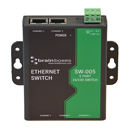 Brainboxes Switch - 5 ports - DIN rail mountable (SW-005) by Brainboxes