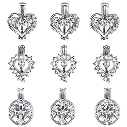 (9 Pcs Diamond Heart Tree of Life Pearl Bead Cages White Gold Plated Locket Pendant Charms for Essential Oil Diffuser Jewelry Making for Mom)