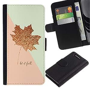 For Sony Xperia Z1 Compact / Z1 Mini / D5503,S-type® Pink Gold Maple Leaf Autumn Fall Glitter - Dibujo PU billetera de cuero Funda Case Caso de la piel de la bolsa protectora
