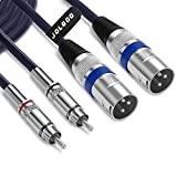JOLGOO Dual XLR Male to Dual RCA Male Cable, 2 XLR Male to 2 RCA Male HIFI Audio Cable, 4N OFC Wire, for Amplifier Mixer Microphone, 5 Feet