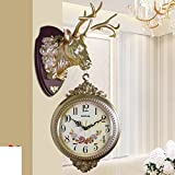 HOMEE Western Vintage Double Sided Clock/Living Room Creative Personality Elk Decorative Wall Hanging