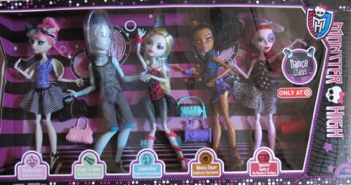 MONSTER HIGH 5 Pack DANCE CLASS w Rochelle GOYLE, 'GIL' WEBBER, Lagoona BLUE, Rebecca STEAM & Operetta TARGET EXCLUSIVE (2013)