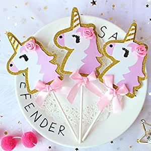 Pink and Gold Glitter Unicorn Cake Cupcake Toppers Party Decorations - 24 pcs