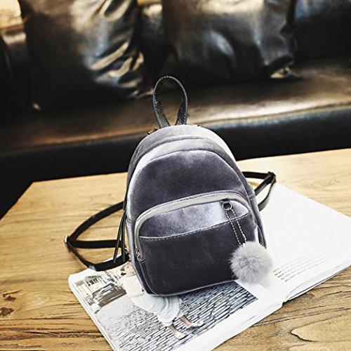 Mini Bags NXDA Handbag Crossbody For Travel School Velvet Fur Shoulder Gray For Bag Ball Women Gray Women Zipper Girl Bag 5vqCwS