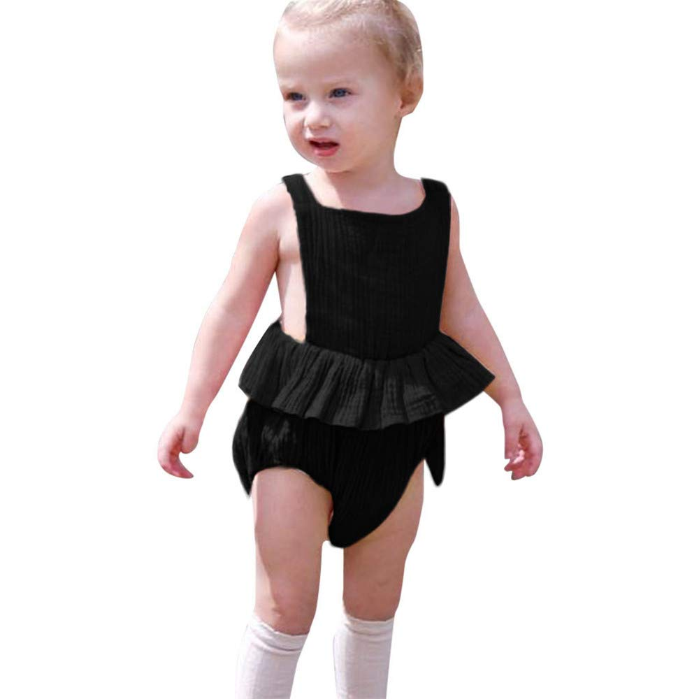 Yaseeking Baby Sleeveless Open Back Strap Romper Jumpsuit Dress Summer Infant Girls Clothes