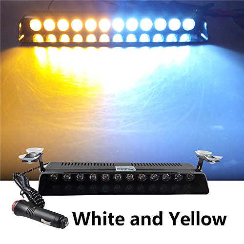 12V Car Truck Emergency Strobe Flash Light Sucker Dashboard Interior Windshield Warning Light Bar Current (12LED, White and Yellow)