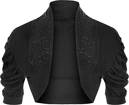 Girlzwalk Women's Plus Beaded Ruched Cap Sleeve Shrugs Sequin Bolero Short Crop Cardigan Top 14/16, 18/20, (18-20, (Beaded Crop Jacket)