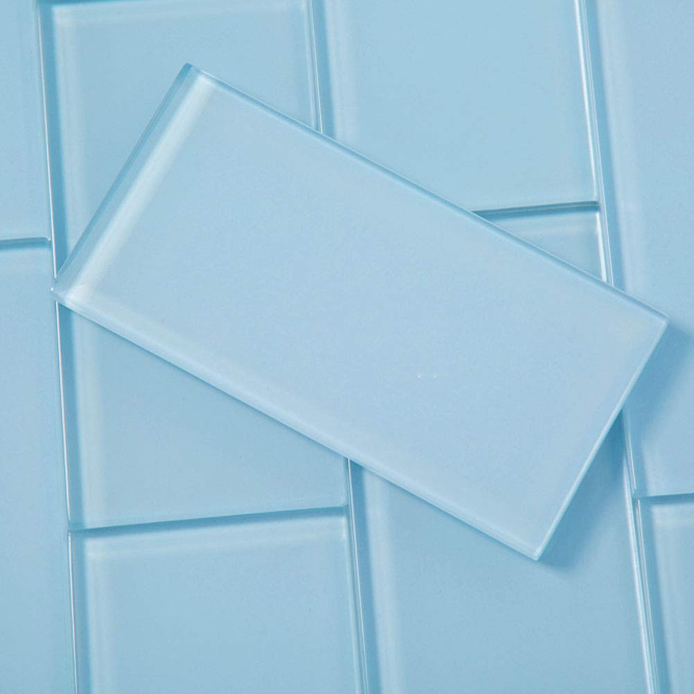 Diflart 3x6 Inch Blue Glass Subway Tiles Backsplash for Kitchen Bathroom Pack of 40