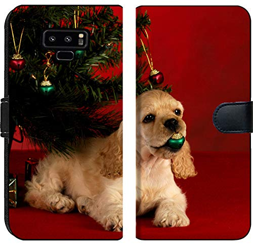 Samsung Galaxy Note 9 Flip Fabric Wallet Case Image ID: 8228206 Cocker Spaniel Puppy Playing with Christmas Ornament Under The Christ