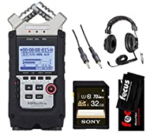 Zoom H4N PRO Four-Track Handy Audio Recorder with Headphones & Accessory Bundle