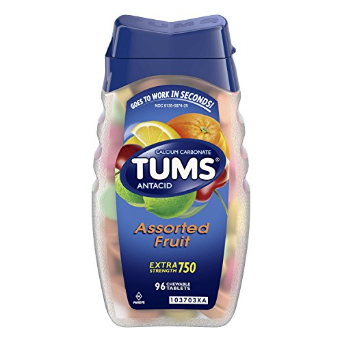 TUMS Antacid Chewable Tablets for Heartburn Relief, Extra Strength, Assorted Fruit, 96 Tablets ()