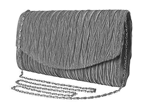 Peach Couture Womens Vintage Satin Pleated Envelope Evening Cocktail Wedding Party Handbag Clutch (Charcoal) by Peach Couture