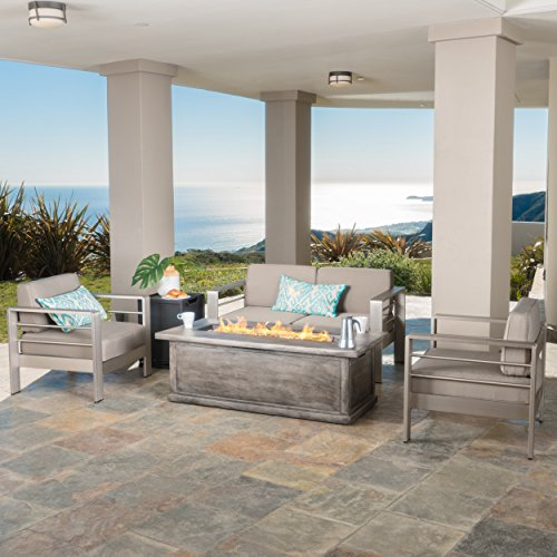 - Crested Bay Aluminum Outdoor Patio Furniture 3 Piece Chat Set with Rectangular Liquid Propane Fire Pit